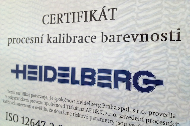 certifikát Heidelberg